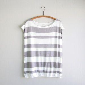 LOFT white gray striped top